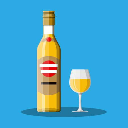 Bouteille de rhum avec verre à liqueur.