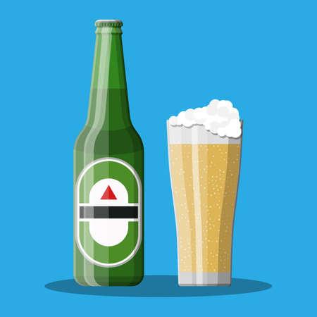 Bottle of beer with glass. Beer alcohol drink. Illustration
