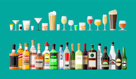 Kolekcja napojów alkoholowych. Butelki w okularach.