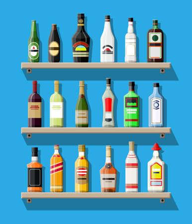 bourbon: Alcohol drinks collection. Bottles on shelf Illustration