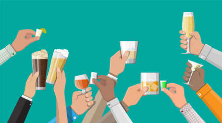 Hands group holding glasses with drinks