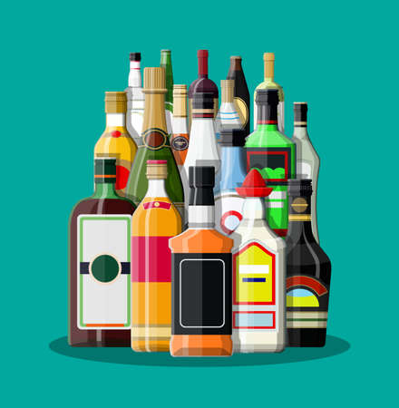 gin: Alcohol drinks collection Illustration