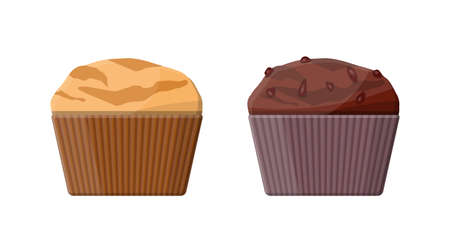 Muffin set. Chcolate and vanilla cupcake. Vector illustration in flat style. Çizim