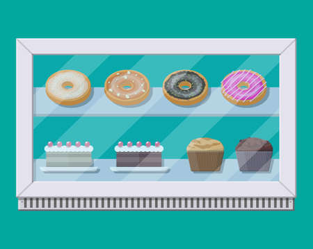 Bakery shop vitrine freezer with cakes and pastry. Donut, muffin, cupcake. Vector illustration in flat style Illustration