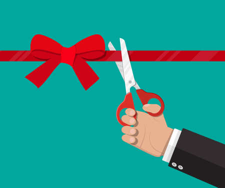 Hand with scissors cut red ribbon with bow. Opening ceremony, celebration, surprises. Vector illustration in flat style Illustration
