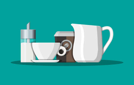 Coffee on saucer, milk jug, sugar dispenser Illustration