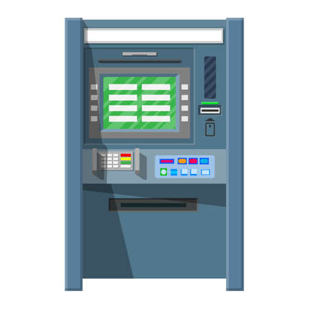 security monitor: Bank ATM. Automatic teller machine.