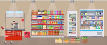 Interior de la tienda de supermercado con productos. Gran centro comercial. Interior tienda adentro. Caja registradora, tienda de comestibles, bebidas, comida, frutas, productos lácteos. Ilustración de vector en estilo plano