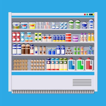 낙농 제품 냉각 용 쇼케이스 냉장고.