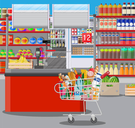 Intérieur de magasin de supermarché avec des marchandises. Grand centre commercial. Magasin intérieur à l'intérieur. Comptoir de caisse, épicerie, boissons, nourriture, fruits, produits laitiers. Illustration vectorielle dans le style plat Banque d'images - 83887533