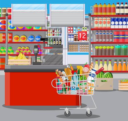 Interior de tienda de supermercado con mercancías. Gran centro comercial. Interior de la tienda en el interior. Mostrador de salida, supermercado, bebidas, comida, frutas, productos lácteos. Ilustración vectorial en estilo plano Ilustración de vector