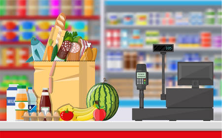 Supermarket store interior with goods. Big shopping mall. Interior store inside. Checkout counter with cash register, grocery, drinks, food, fruits, dairy products. Vector illustration in flat style Ilustracja