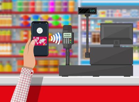 NFC Zahlung im Supermarkt Vektorgrafik