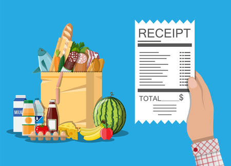 Shopping bag with food and drinks, receipt