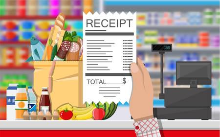 Supermarket store interior with goods. Illustration