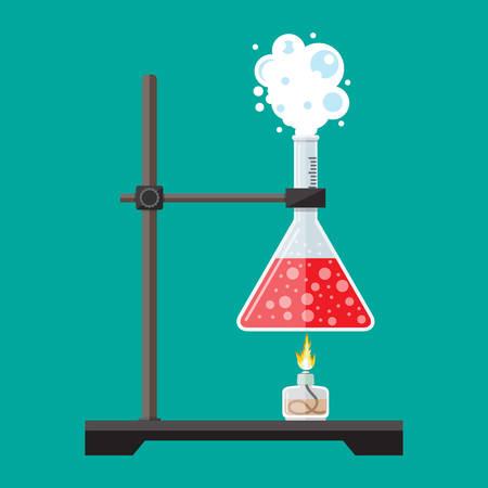 Laboratory equipment, jars, beakers, flasks, spirit lamp.