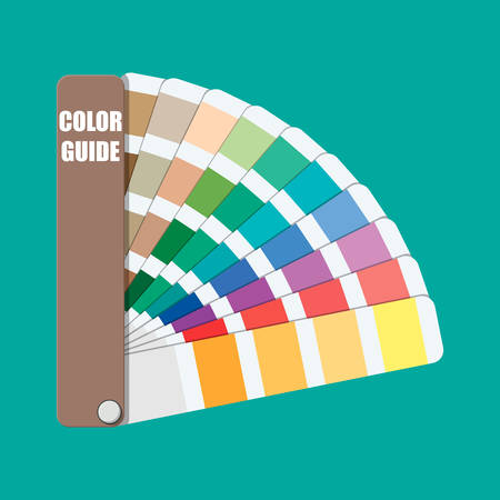 Color swatch. Color palette guide. Colorful scale. Rainbow tool for designer, photographer, artist. Coloured swatches catalogue, book, pantone in flat style