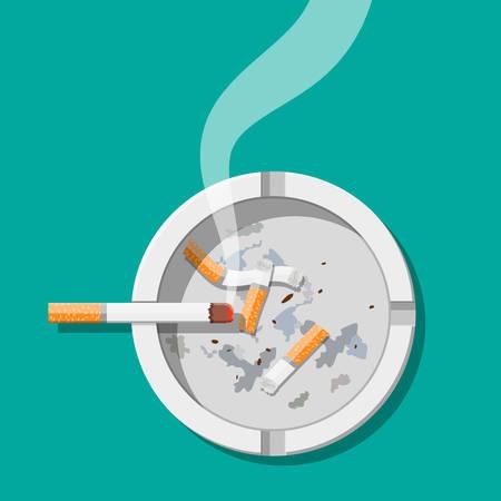 Posacenere in ceramica bianca pieno di sigarette da fumo. Stoviglie per fumare Vista dall'alto. Illustrazione vettoriale in stile piatto