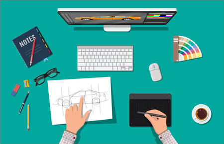 webdesigner: Designer workplace. Illustrator desktop with tools. Desktop pc, keyboard, mouse, glasses, notes, pen, coffee. Sketch on paper blank. Hands drawing on graphic tablet. Vector illustration in flat style Illustration