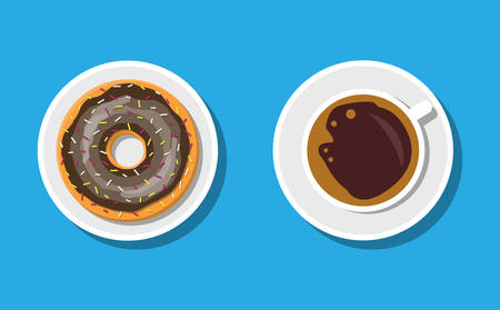 Coffee cup and donuts with chocolate cream. Coffee hot drink. Doughnut into glaze. Concept for cafe, restaurant, menu, desserts, bakery. Breakfast top view. Vector illustration in flat style