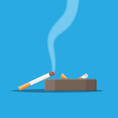 White ceramic ashtray full of smokes cigarettes. Illustration
