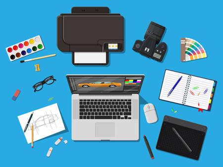 Designer workplace. Illustrator desktop with tools Illustration