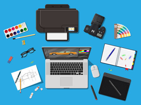 Designer workplace. Illustrator desktop with tools 向量圖像