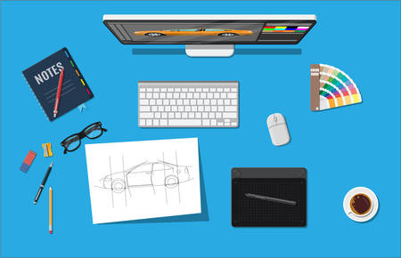 webdesigner: Designer workplace. Illustrator desktop with tools Illustration