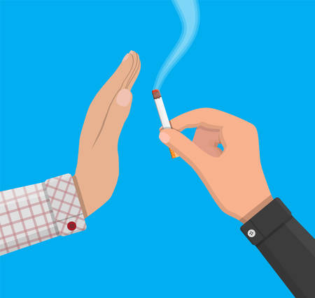 Hand gives cigarette to other hand. Illustration