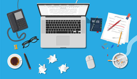 type writer: Writer or journalist workplace. Laptop pc, draft, mouse. Paper sheets on working table with text, pen, pencil. Ashtray, cigarette, coffee cup. Eyeglasses phone. Vector illustration in flat style