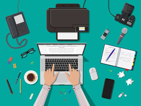 Writer or journalist workplace. Laptop pc, smartphone, mouse. Paper sheets with text, pen. Printer, recorder, coffee. Eyeglasses phone microphone, photo camera Vector illustration.