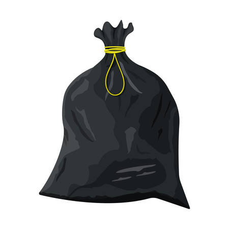 Plastic garbage bag with rope icon.