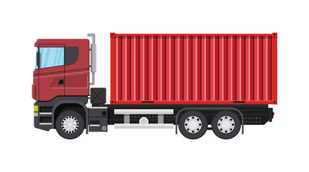 Cargo delivery truck with metal container. Shipping and delivery of goods. Car for transport. Trailer vehicle. Vector illustration in flat style.