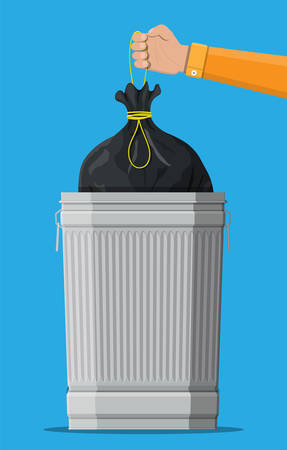 Huge waste trash can isolated on blue. Hand with bag for garbage. Metal bucket. Garbage recycling and utilization equipment. Waste management. Vector illustration in flat style. Illustration