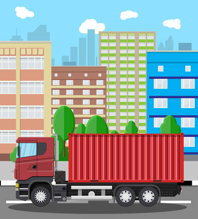 heavy metal: Cargo delivery truck with metal container. Shipping and delivery of goods. Car for transport. Trailer vehicle in city. Cityscape with trees, building and sky. Vector illustration in flat style.