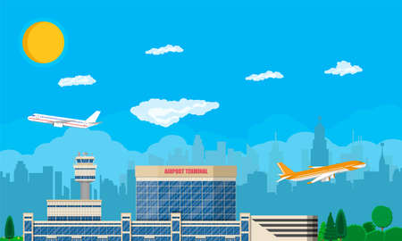 Aircraft above the ground. Airport control tower, terminal building and parking area. Cityscape. Sky with clouds and sun. Vector illustration in flat style