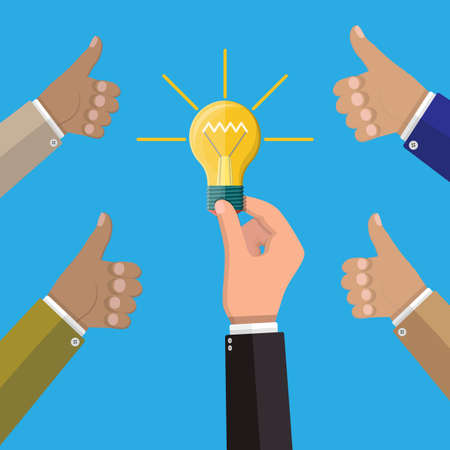 Businessman hand holding idea bulb and another hands hold thumbs up. Concept of creative idea or inspiration. Glass bulb with spiral in hand in flat style. Vector illustration