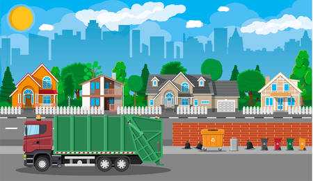 Truck for assembling, transportation garbage. Car waste disposal. Can container, bag and bucket for garbage. Recycling and utilization equipment. Suburban cityscape. Vector illustration in flat style