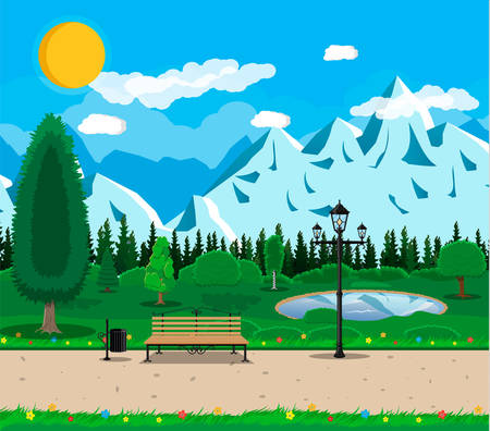 Mountain park concept, wooden bench, street lamp, waste bin in square. Rocky mountains, lake and trees. Sky with clouds and sun. Leisure time in summer park. Vector illustration in flat style Illustration