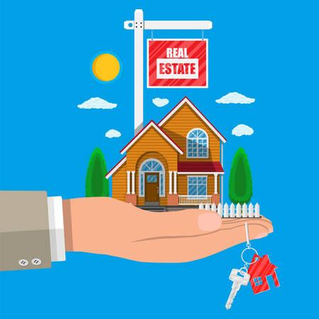 Casa de la familia suburbana en la mano. Icono de casa de madera y ladrillo de campo. Llave. Venta y alquiler de casa, mansión. Cartel de venta. Bienes raíces. Ilustración de vector en estilo plano