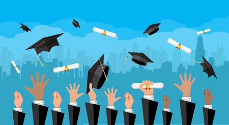 教育の概念。大学、大学式  イラスト・ベクター素材