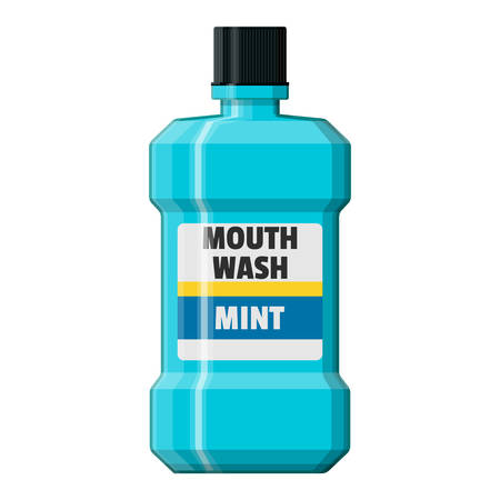 Mouthwash plastic bottle. Oralcare equipment.