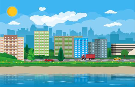 City view landscape. Illustration