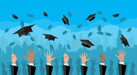 accomplish: Hands of graduates throwing graduation hats in the air.