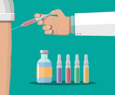 Doctor hand with syringe, vaccination of patient. Ilustração
