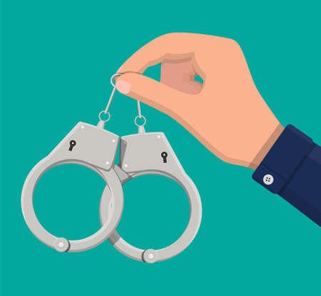 Modern metal handcuffs. Illustration