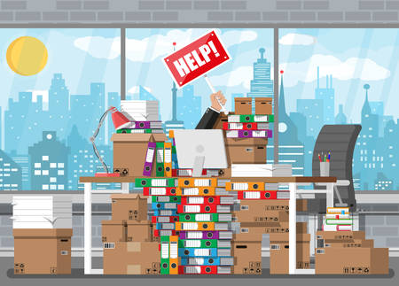 Stressed businessman in pile of office papers and documents with help sign. Stress at work. Overworked. File folders. Bureaucracy, paperwork. Cityscape. Vector illustration in flat style. Ilustracja