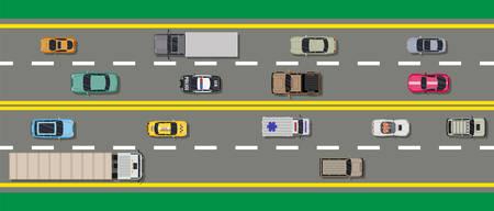 Collection de divers véhicules sur la route. Roadster, taxi, VUS de police, ambulance, berline, camion. Voiture pour le transport, le fret et les services d'urgence. Vue de dessus de l'autoroute. Illustration vectorielle dans un style plat. Banque d'images - 85583328