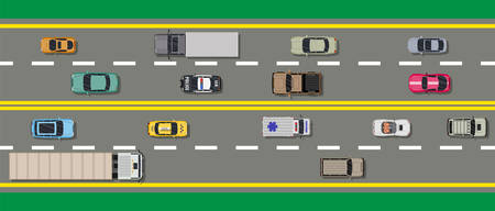 Collection of various vehicles on road. Roadster, taxi, police SUV, ambulance, sedan, truck. Car for transportation, cargo and emergency services. Highway top view. Vector illustration in flat style. Illustration