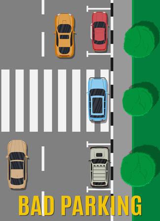 Stationnement de la ville avec différentes voitures. Banque d'images - 85719447